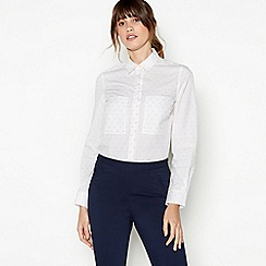 J by Jasper Conran - White Square Print Cotton Shirt
