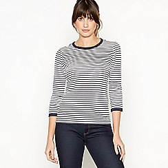 6d8b9129d25100 J by Jasper Conran - Navy Stripe Print Crew Neck Top