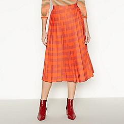 J by Jasper Conran - Orange Puzzle Print Midi Skirt