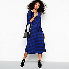 J by Jasper Conran - Blue Chevron Stripe Batwing Knee Length Dress