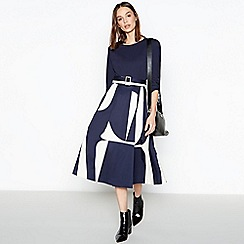 J by Jasper Conran - Navy Abstract Pattern Utility Midi Dress