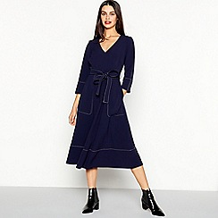 J by Jasper Conran - Navy Stitch Detail Midi Utility Dress