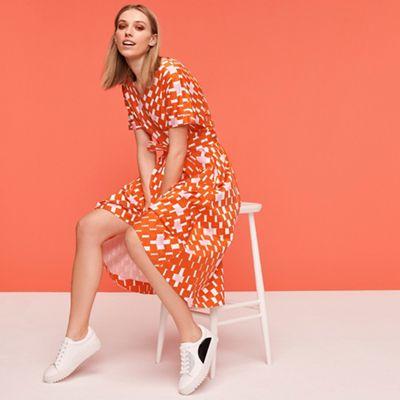 4ccd5533ded7b J by Jasper Conran Multicoloured Weave Print Cotton Knee Length Wrap Dress    Debenhams