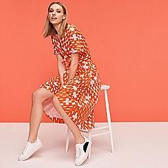 J by Jasper Conran - Multicoloured Weave Print Cotton Knee Length Wrap Dress