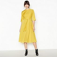J by Jasper Conran - Yellow Pleated Belted Midi Dress