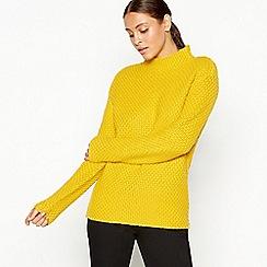 J by Jasper Conran - Yellow moss stitch high neck jumper