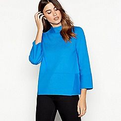 J by Jasper Conran - Bright blue ribbed high neck jumper
