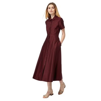 J by Jasper Conran Red midi shirt dress | Debenhams