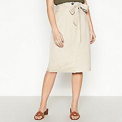 Principles Petite - Natural Linen Petite Midi Skirt