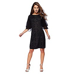 The Collection Petite - Black glitter frill sleeves knee length petite dress