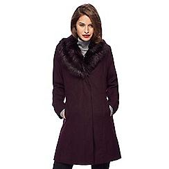 The Collection Petite - Dark purple faux fur collar petite dolly coat