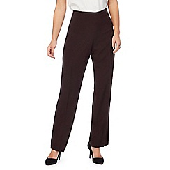 The Collection Petite - Brown flat front petite trousers