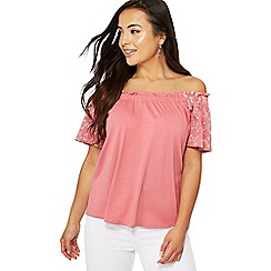 The Collection Petite - Pink broderie short sleeve petite gypsy top