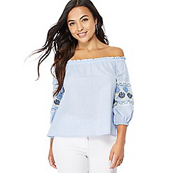 The Collection Petite - Blue embroidered Bardot neckline petite top
