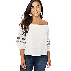 The Collection Petite - White embroidered Bardot neckline short sleeve petite top
