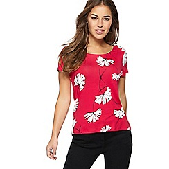 The Collection Petite - Pink floral print petite jersey t-shirt