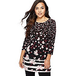 The Collection Petite - Black floral print petite tunic top