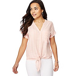 The Collection Petite - Pink stripe print V-neck petite shirt