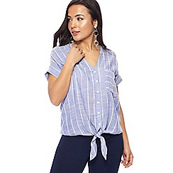 The Collection Petite - Blue striped V-neck petite shirt