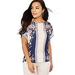The Collection Petite - Multi-coloured floral scarf print short sleeve petite top