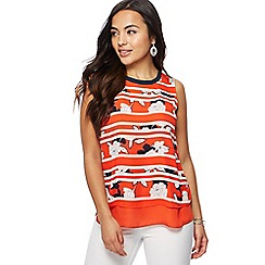 The Collection Petite - Red striped floral print layered petite top