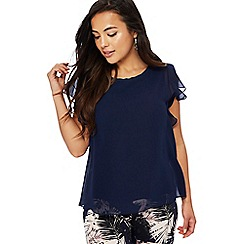 The Collection Petite - Navy chiffon short sleeve petite top