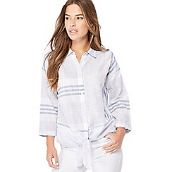 The Collection Petite - Blue striped knot hem petite shirt