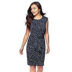 The Collection Petite - Navy spotted print knee length petite dress