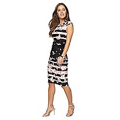 The Collection Petite - Black floral print knee length dress