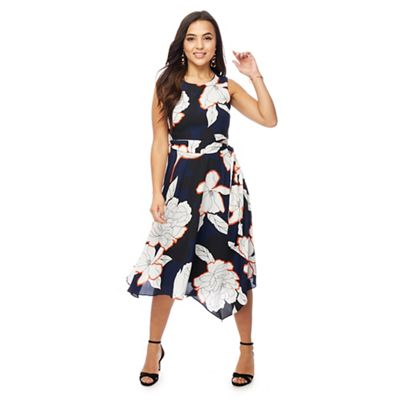 The Collection Petite   Navy Floral Print Petite Midi Dress by The Collection Petite