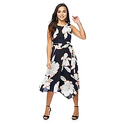 The Collection Petite - Navy floral print petite midi dress