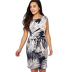 The Collection Petite - Multi-coloured palm print round neck knee length petite dress