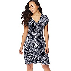 The Collection Petite - Navy tile print jersey V-neck petite wrap dress