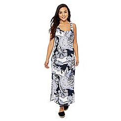 The Collection Petite - Blue and white floral print petite maxi dress