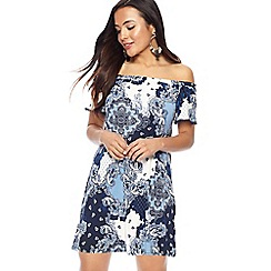 The Collection Petite - Blue scarf print bardot neck short sleeve mini petite dress