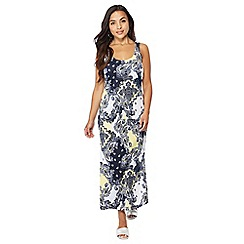 The Collection Petite - Navy printed scoop neck sleeveless petite maxi dress