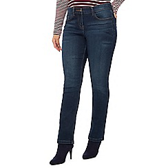 The Collection Petite - Dark Blue Mid Wash Straight Fit Petite Jeans