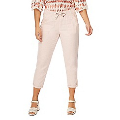 The Collection Petite - Pink linen blend petite cropped trousers