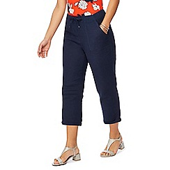 The Collection Petite - Navy linen blend petite cropped trousers