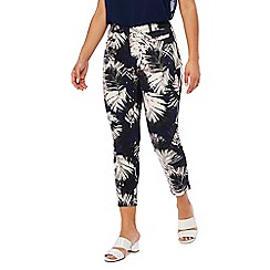 The Collection Petite - Navy palm leaf print sateen slim fit petite trousers