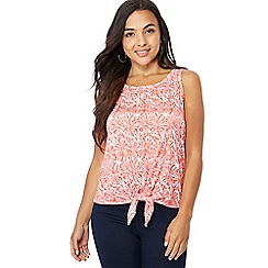 The Collection Petite - Peach printed tie front petite vest top