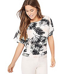 The Collection Petite - Natural palm print chiffon petite shell top