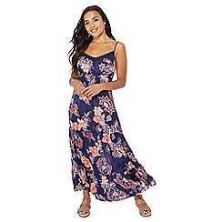 The Collection Petite - Navy floral print V-neck petite maxi dress
