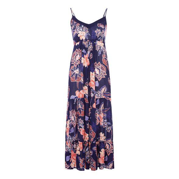 The dress Navy Petite V print floral neck Collection petite maxi r1qwTCnr