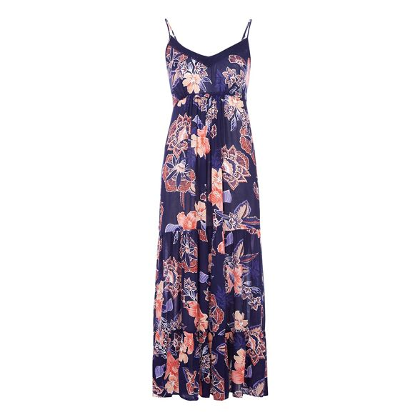 Navy Petite petite neck The maxi print Collection floral dress V E6pwq5Z
