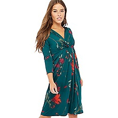 The Collection Petite - Green lily print knee length petite dress