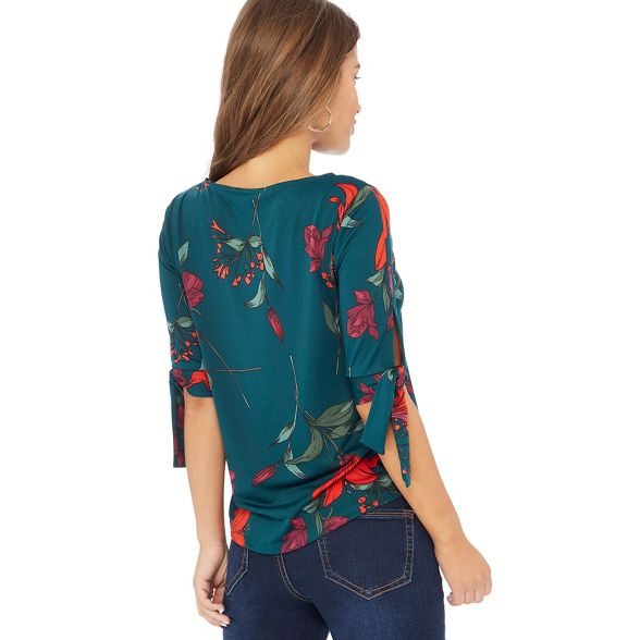 Bottle tie sleeves green Petite top print Collection floral The 07YEnP