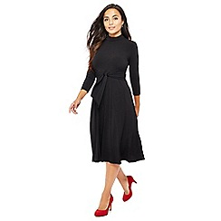 The Collection Petite - Black tie front knee length petite dress
