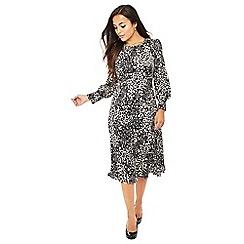 The Collection Petite - Natural leopard print midi petite dress