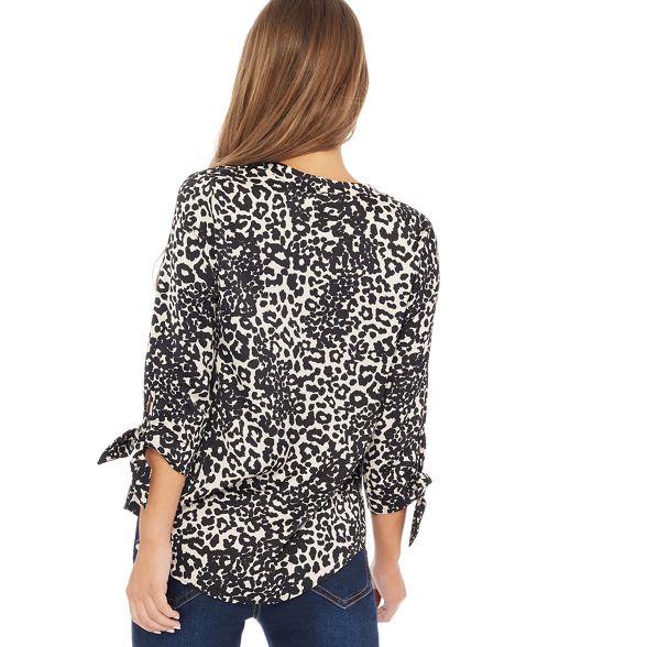 Natural blouse leopard Collection print V The neck Petite petite TUw7qxP